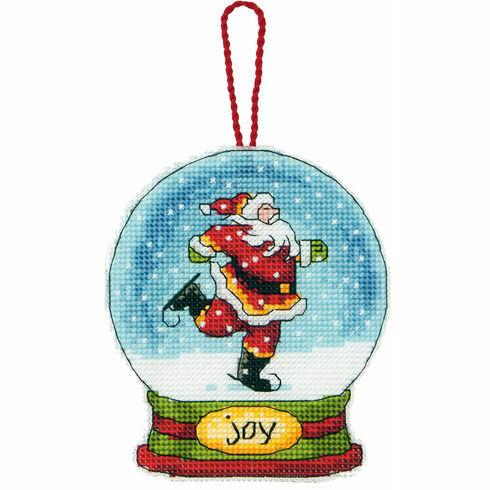 Joy Snow Globe Cross Stitch Ornament Kit