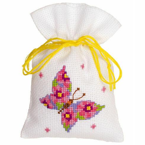 Pink Butterfly Pot Pourri Bag Cross Stitch Kit