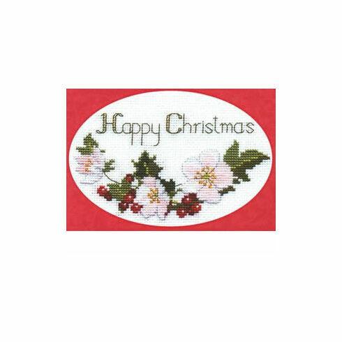 Christmas Roses Cross Stitch Card Kit