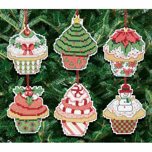 Christmas Cupcake Ornaments Cross Stitch Kit (Set of 6)