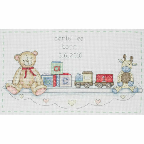 Toy Shelf Birth Sampler Cross Stitch Kit