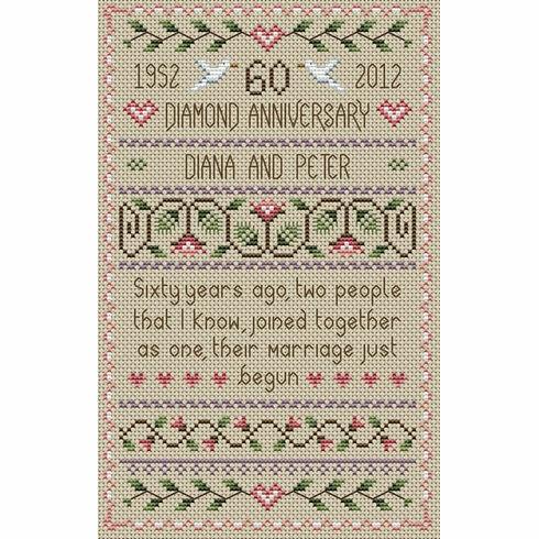 Diamond Wedding Anniversary Cross Stitch Kit