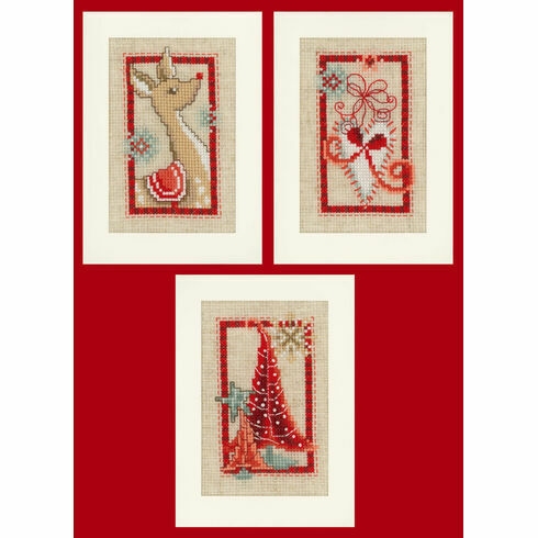 Christmas Symbols - Set Of 3 Cross Stitch Card Kits