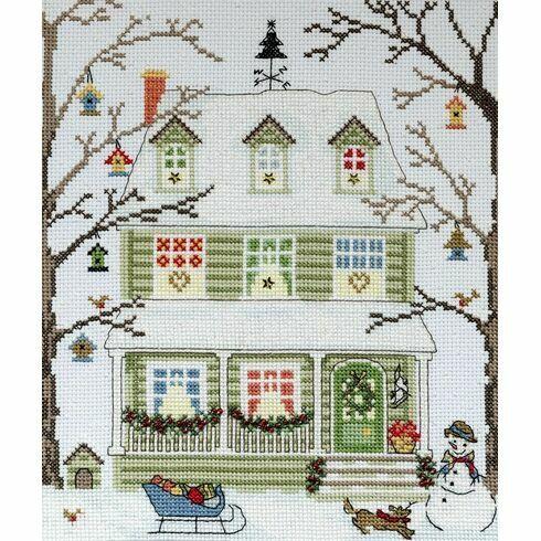 New England Homes Winter Cross Stitch Kit