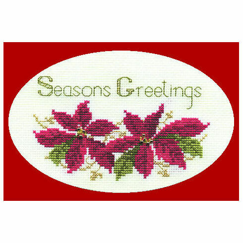 Poinsettias Cross Stitch Christmas Card Kit