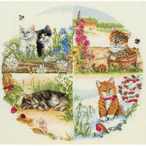 Cats & Seasons Cross Stitch Kit