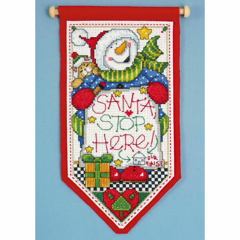 Santa Stop Here Cross Stitch Banner Kit