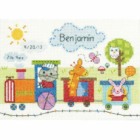 Train Birth Record Cross Stitch Kit