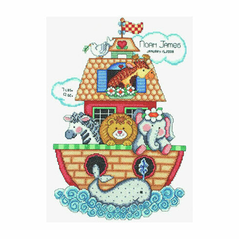 Noah's Ark Birth Sampler Cross Stitch Kit