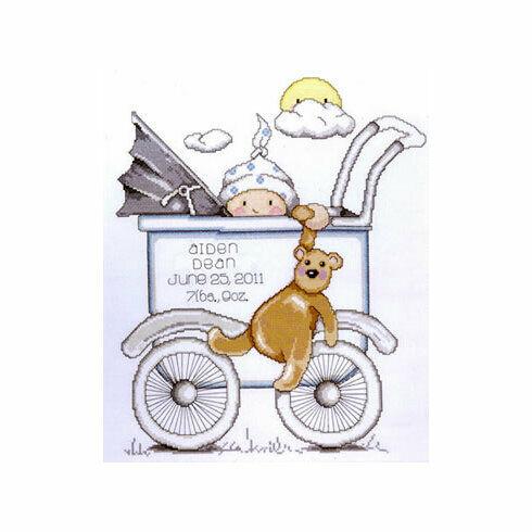 Buggy Boy Birth Sampler Cross Stitch Kit