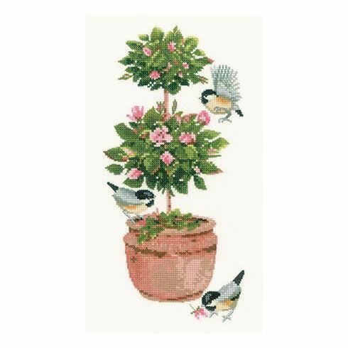 Topiary Rose Cross Stitch Kit