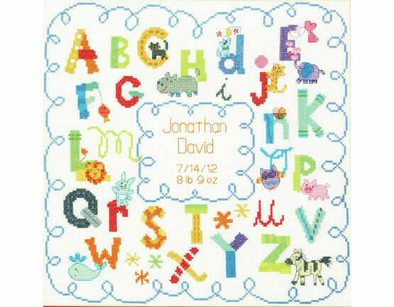 Alphabet Birth Cross Stitch Record Kit