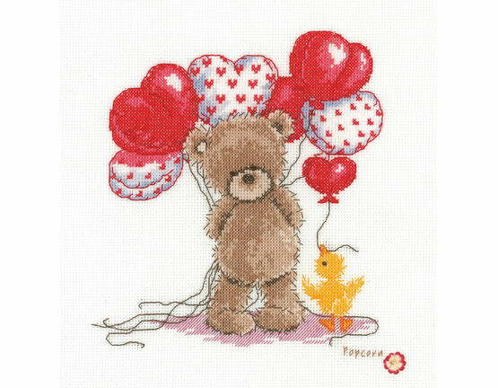 Popcorn Bear - Lovely Balloons Cross Stitch Kit