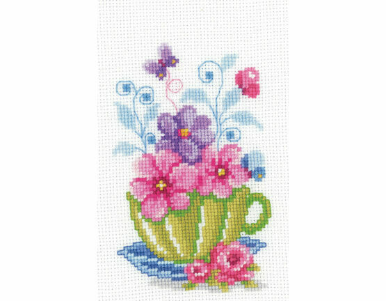 Green Tea Cup & Flowers Cross Stitch Kit