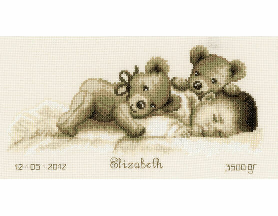 Sleeping With Teddy Bear Birth Sampler Cross Stitch Kit