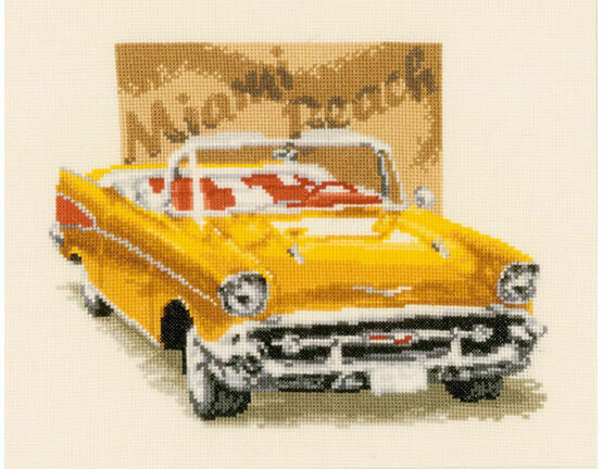 Cadillac at Miami Beach Cross Stitch Kit