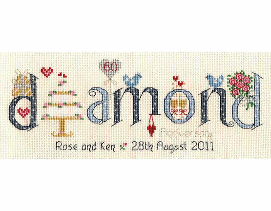 Diamond Wedding Anniversary Word Cross Stitch Sampler Kit