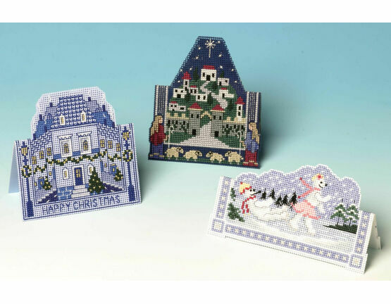 Blue Christmas Cards 3D Cross Stitch Selection Pack (3 Cards)