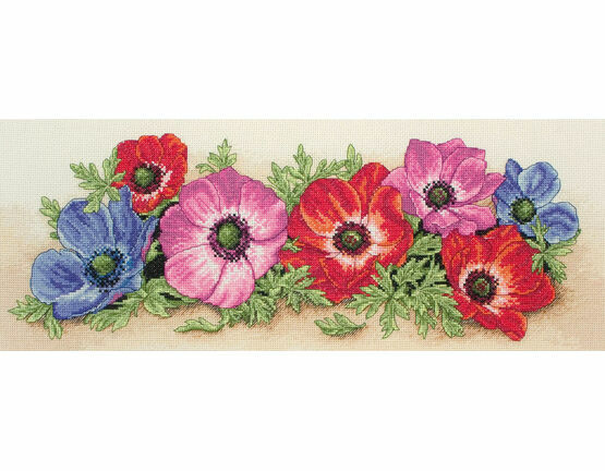 Spray of Anemones Cross Stitch Kit