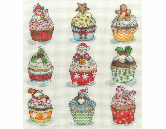 Christmas Cup Cakes Cross Stitch Kit