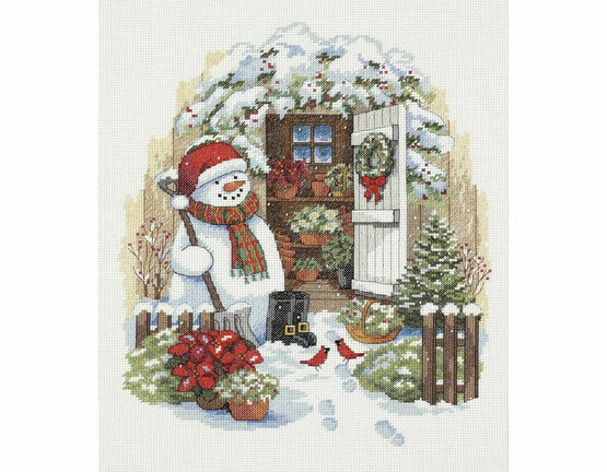 Garden Shed Snowman Cross Stitch Kit