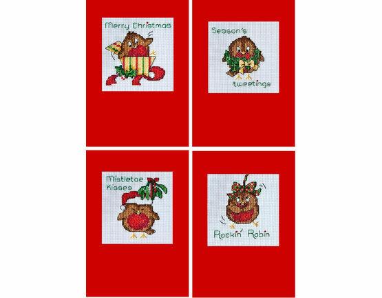 Seasons Tweetings Robin Christmas Card Cross Stitch Kits (Set Of 4)