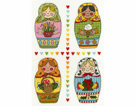 Four Russian Dolls Cross Stitch Kit