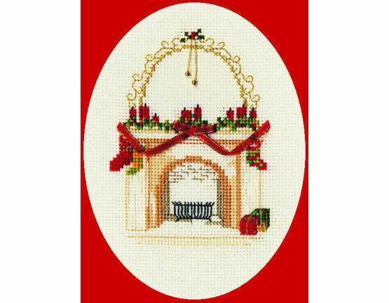 Christmas Fireplace Cross Stitch Card Kit