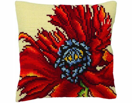 Extravagant Poppy Cushion Panel Cross Stitch Kit