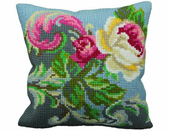 Antique Rose Left Cushion Panel Cross Stitch Kit