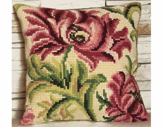 Wild Rose Left Cushion Panel Cross Stitch Kit