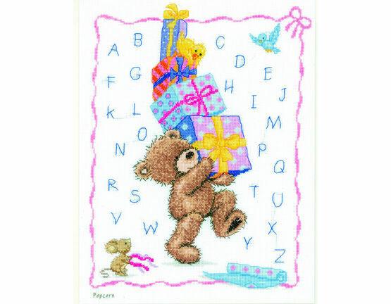 Popcorn Bear Alphabet Cross Stitch Kit