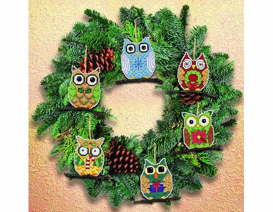 Owl Christmas Tree Ornaments Cross Stitch Kit