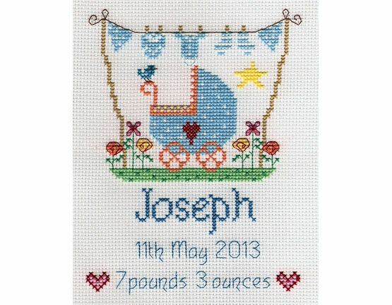 New Baby Boy Sampler Cross Stitch Kit