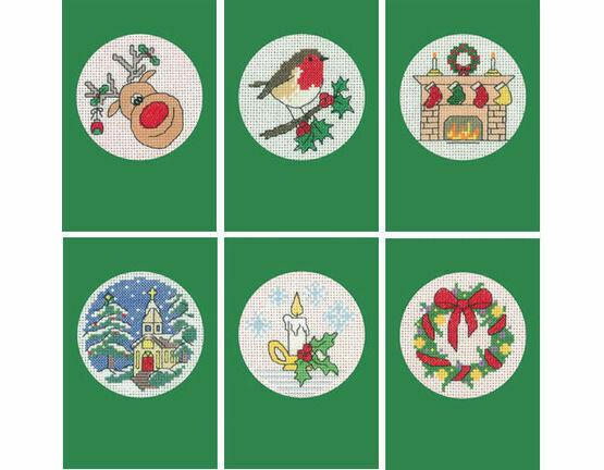 Set Of Six Green Cross Stitch Christmas Card Kits