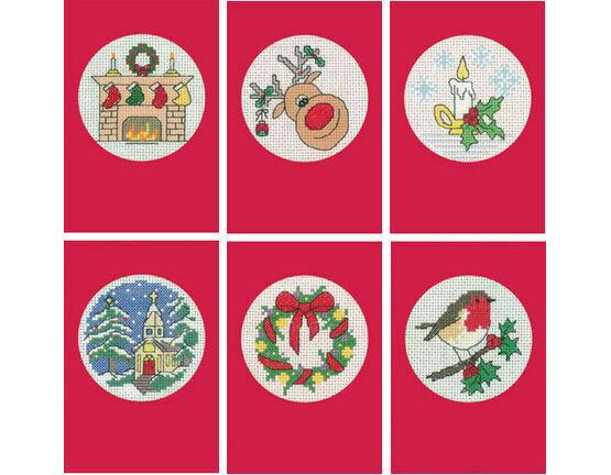 Set Of Six Red Cross Stitch Christmas Card Kits