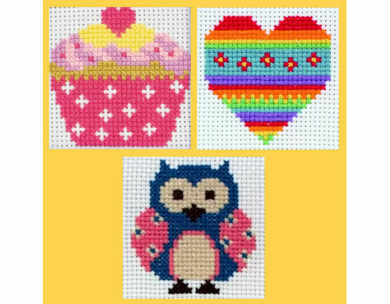 Anchor 1st Cross Stitch Kits - Zoe, Heart, Cupcake (Set of 3)