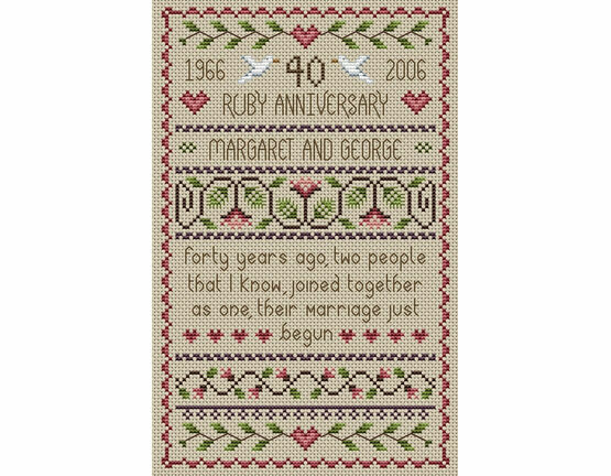 Ruby Wedding Anniversary Cross Stitch Kit