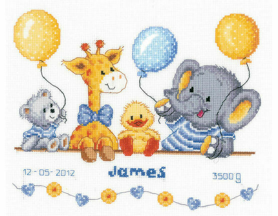 Animal Cheer Birth Sampler Cross Stitch Kit