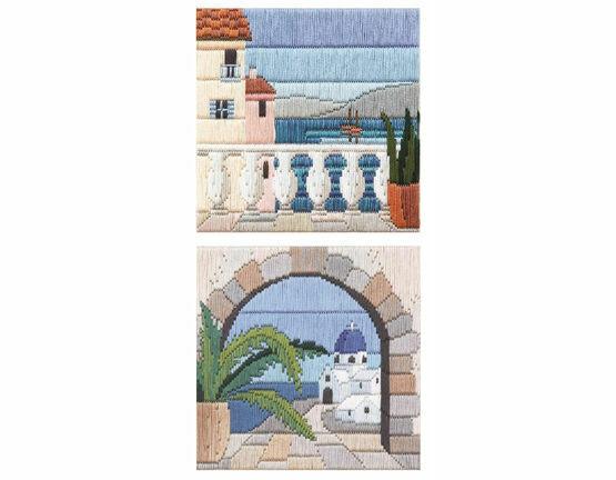 Set Of 2 Mediteranean Scene Long Stitch Kits