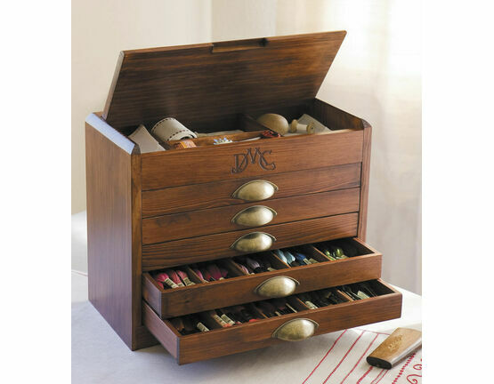 DMC Wooden Collectors Box With 465 Skeins Of Stranded Cotton Thread