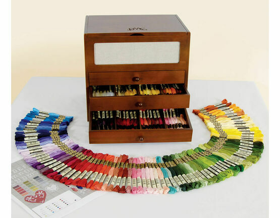DMC Wooden Collectors Box With 150 Skeins Of Stranded Cotton Thread