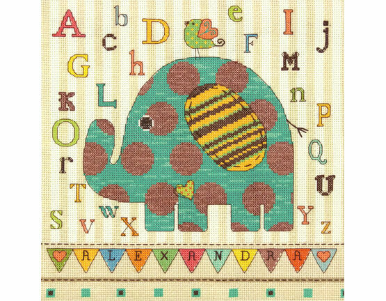 Baby Elephant ABC Cross Stitch Kit