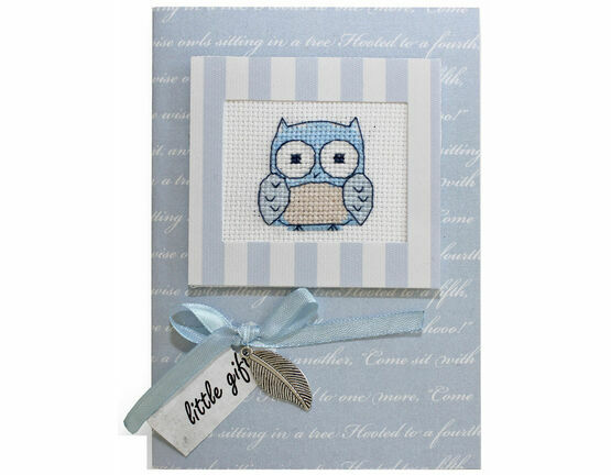 Blue Owl Cross Stitch Card Kit