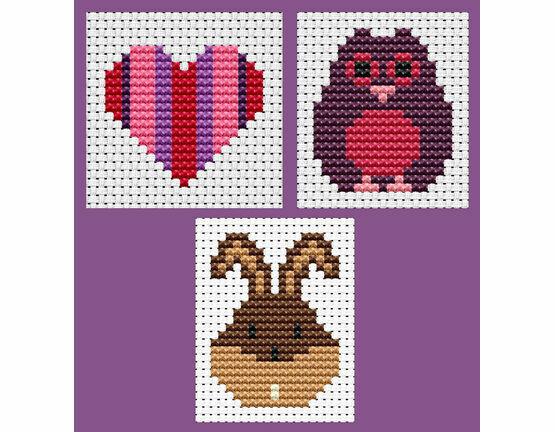 Easy Peasy Set Of 3 Children's Cross Stitch Kits - Heart, Owl & Bunny