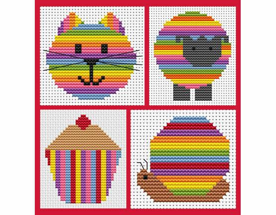 Sew Simple Set Of 4 Stripey Cross Stitch Kits - Cat Head, Cupcake, Sheep & Snail