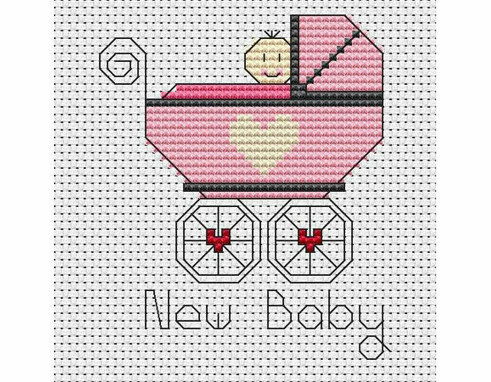 New Baby Girl Cross Stitch Card Kit