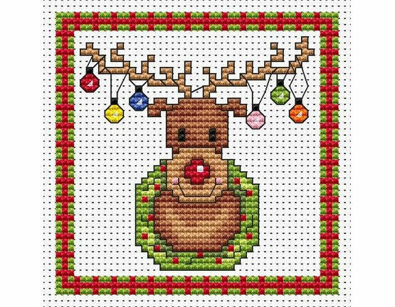 Rudolf Lights Cross Stitch Christmas Card Kit