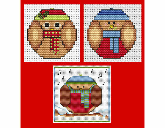 Round Robins & Owls Cross Stitch Christmas Card Kits - Set Of 3
