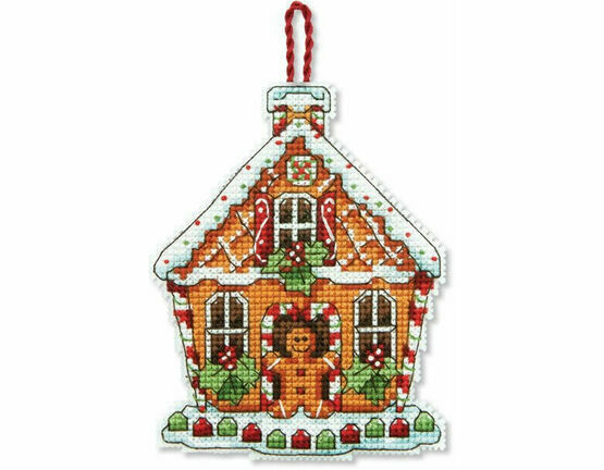Gingerbread House Ornament Cross Stitch Kit
